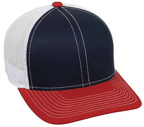 Outdoor Cap Structured mesh Back Trucker Cap, Navy/White/Red, One Size