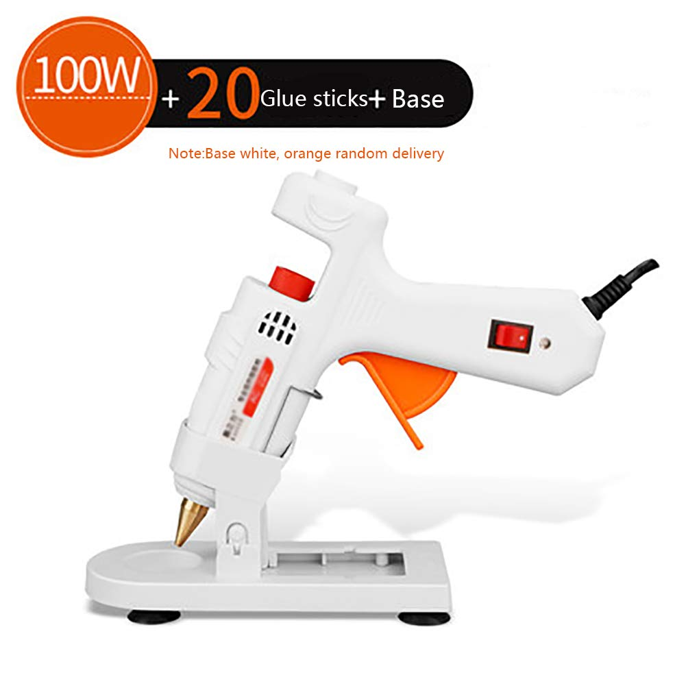 Glue Gun, Hot Glue Gun,100W Advanced Professional Industrial Hot Melt Glue Gun (11 * 100mm) - DIY Project with Temperature Adjustable and Non-drip Nozzle Process Home Repair, with Base(White) WCYGUN