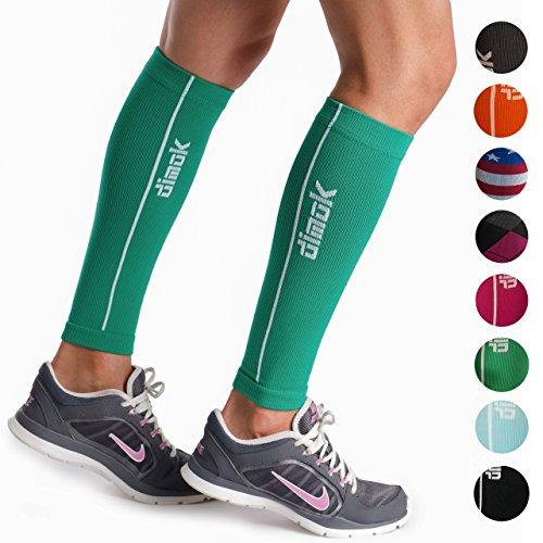 dimok Calf Compression Sleeves Pair - Leg Compression Socks for Calves Running Women Men - Best for Shin Splint Muscle Pain Better Circulation (S/M)