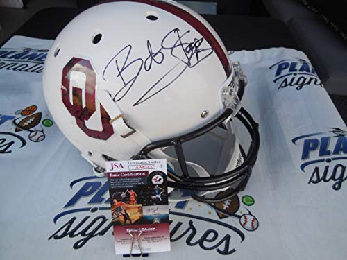 Bob Stoops and Lincoln Riley Dual Signed Oklahoma OU Sooners Bring the Wood Full size Helmet JSA COA