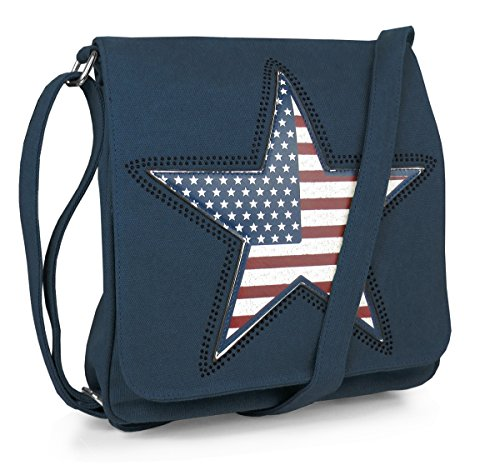 Canvas Schultertasche Amerika Stern Stars Braun Blau