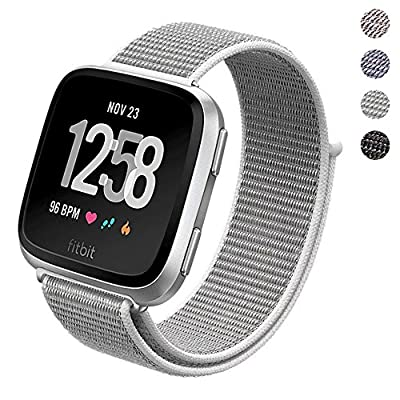 PUGO TOP Fitbit Versa Watch Bands Loop Small Large, Adjustable Closure Wrist Replacement Fitness Sport WristBands Woven Nylon Velcro Band Straps For Fitbit Versa Fitness Smart Watch Women Men