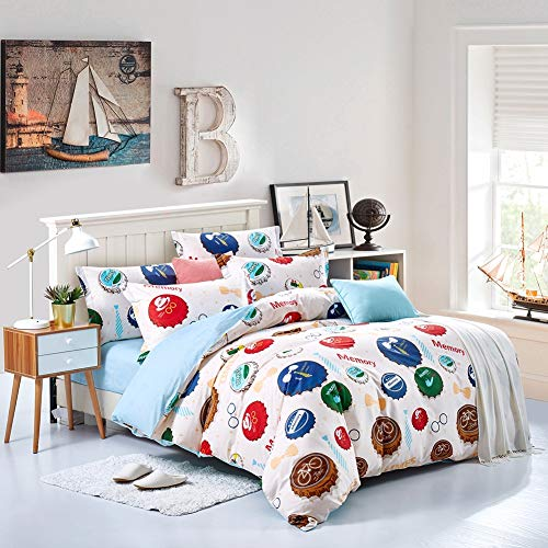 - LuYi-Ww 100% Cotton Sweet Warm Bed Linen Bedding Set of 4, Small Fresh and Lovely Style, Paint Printing and Dyeing Process, Personalized Fashion Series,XL