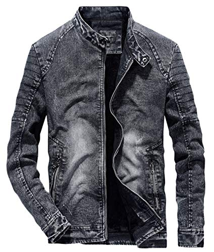 chouyatou Men's Winter Banded Collar Full Zip Fleece Lined Distressed Moto Denim Outerwear Jacket (Medium, Dark Grey)