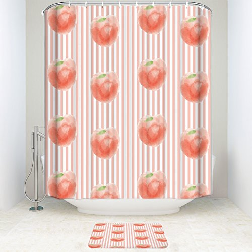 BMALL Peach Illustration Striped Background 66x72In Shower Curtain Polyester Fabric Bathroom Set With 157x23