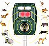Wikomo Ultrasonic Repeller, Solar Powered Animal Repeller, Motion Sensor and Flashing Light Repeller for Cats, Dogs, Squirrels, Moles, Rats