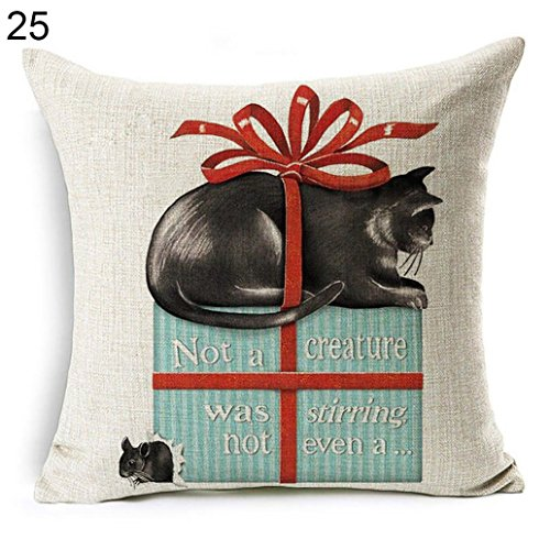Holiday Christmas Pet Dogs - Acamifashion Christmas Dog Santa Claus Reindeer Cushion Cover Throw Pillow Case Home Sofa Decors (#25 Holiday Pets)