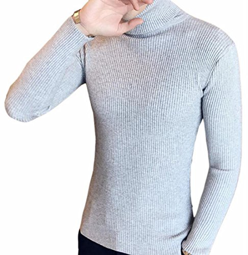 ib-Knit Turtleneck Skinny Casual Pullover Sweaters Grey L (Rib Turtleneck)