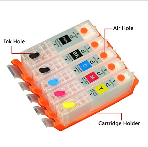 INKWAY PGI-270XL CLI-271XL Refillable Ink Cartridge 1 Set(Empty) with Auto Reset Chip Replace for Canon MG6820 MG6821 MG6822 MG5720 MG5721 MG5722 MG7720 TS5020 TS6020 Printer