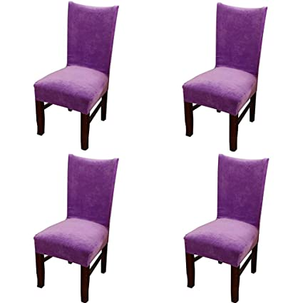 Amazon Smiry Velvet Stretch Dining Room Chair Covers Soft Removable Slipcovers Set Of 4 Light Purple Home Kitchen