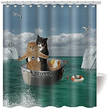 Gwein Funny Cat Bathroom Home Decor Shower Curtain Polyester Fabric Mildew Proof Waterproof Cloth Room