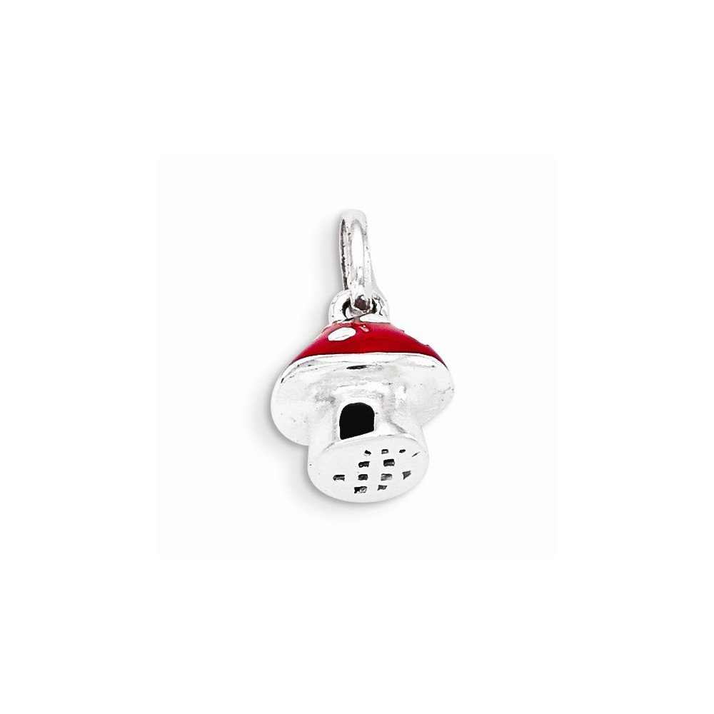 Sterling Silver Jewelry Pendants /& Charms Red Red Enamel Mushroom Pendant