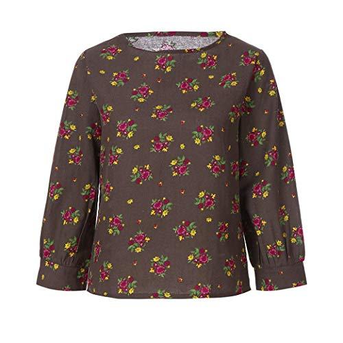 Moiti Vrac Dame Femmes Vintage Chemise Coton en Blouse Print V Blanc Courtes en en Manches Tops Noir Caf Haut Vrac Floral Impression en SOMESUN DContractE V Col Lin Boho Col OnYSqOdw