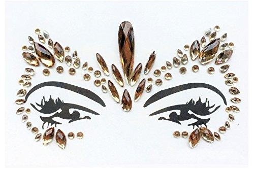 Gem Pegatinas cara y cuerpo joyas de piedras preciosas Pegatinas Glitter Make Up para Fiesta Festival shows y Etapa Ceremonia bfg21Oro hima