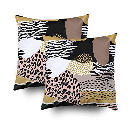 ROOLAYS Decorative Throw Square Pillow Case Cover 16X16Inch,Cotton Cushion Covers Abstract geometric animal print Trendy Both Sides Printing Invisible Zipper Home Sofa Decor Sets 2 PCS Pillowcase