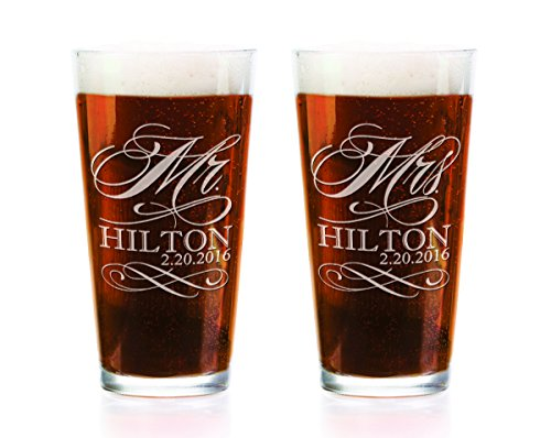 Set of Two Personalized Craft Pint Pub Glass Mr and Mrs. with Last Name and Date Laser Engraved Wedding, Future Newlyweds, Bridal Shower Gift Favor Decor