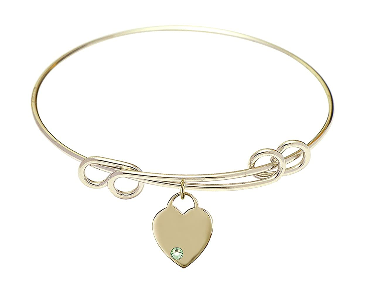 Heart Charm On A 8 1//2 Inch Round Double Loop Bangle Bracelet