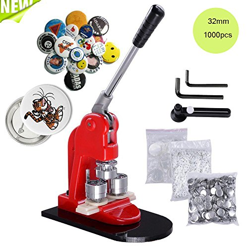 """Mophorn Button Maker 32mm 1.25Inch Button Maker Machine Badge Punch Press Pin Button Maker with Free 1000 Pcs Button Parts and Circle Cutter (Φ32mm 1-1/4"""" 1000PCS)"""