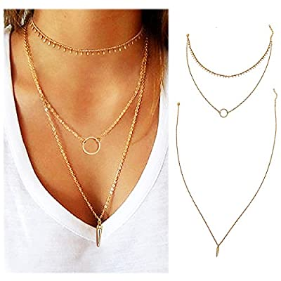 Wowanoo Simple Layered Choker Necklace Multilayer Clavicle Lariat Necklace Costume Jewelry for Women Girl Lady