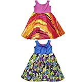 Twirly Girls Dress for Everyday Sleeveless Reversible Cute Casual in Pink Rainbow
