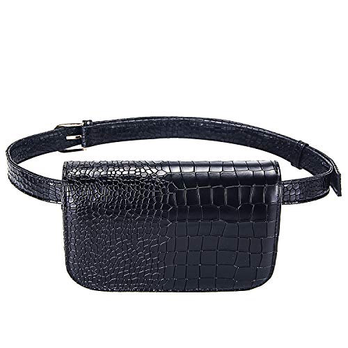 Leather Belt Bag - Badiya Women's Mini Waist Bag Fanny Packs Crocodile Leather Cell Phone Pocket