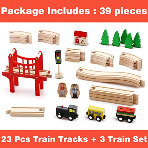 Toy Train Set- 39 Piece Wooden Track & Train Pack Fits Thomas, Brio, Chuggington, Melissa- Kids Friendly Building & Construction Toy- Expandable, Changeable-Fun for 2+ Years Old Girls & Boys