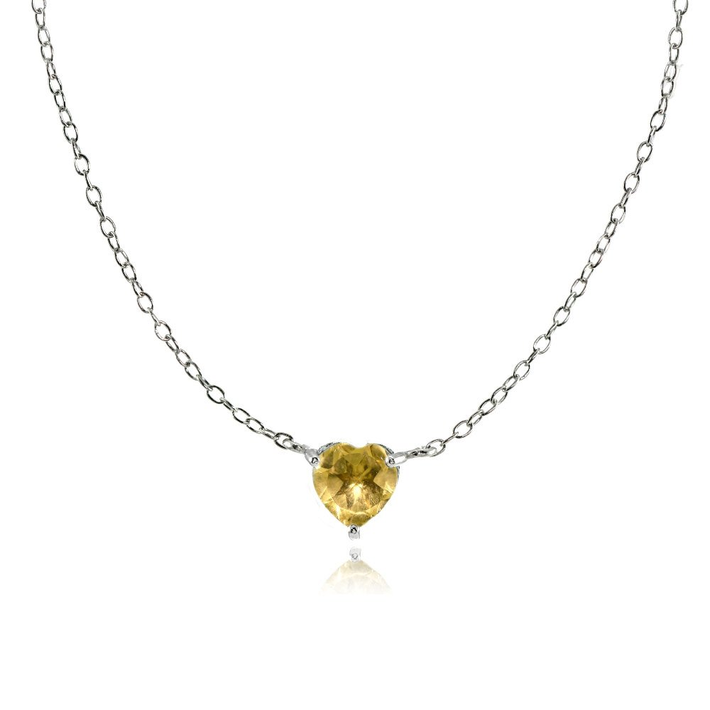 Sterling Silver Small Dainty Citrine Heart Choker Necklace