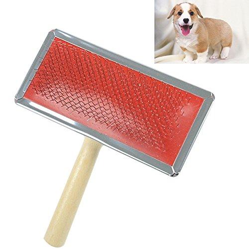 SRY-Pet Supplies Cepillo de limpieza manual de cerdas suaves con aguja de curvas suaves con mango de madera para mascotas,...