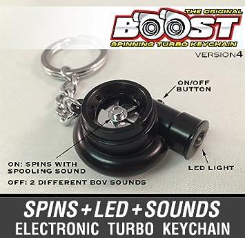 Boostnatics - Llavero electrónico Turbo girando, con sonido y luz LED - Negro mate - Versión 4 (V4).: Amazon.es: Coche y moto