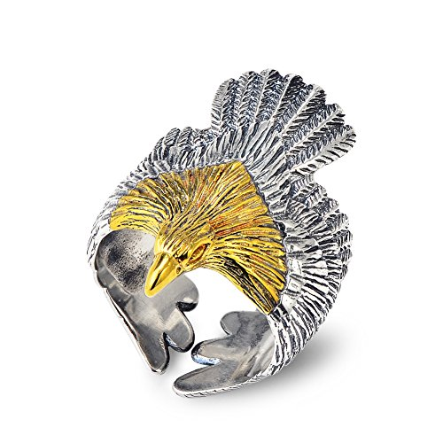 [YFN Mens Fashion Jewelry Sterling Silver Eagle Sculpture Skyhawk Ring Size (Range8-10)] (Sterling Eagle)