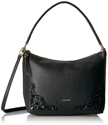 (Calvin Klein Pebble Vertical Front Zip Embellished Crossbody Hobo Bag, BLK/BLK, One Size)