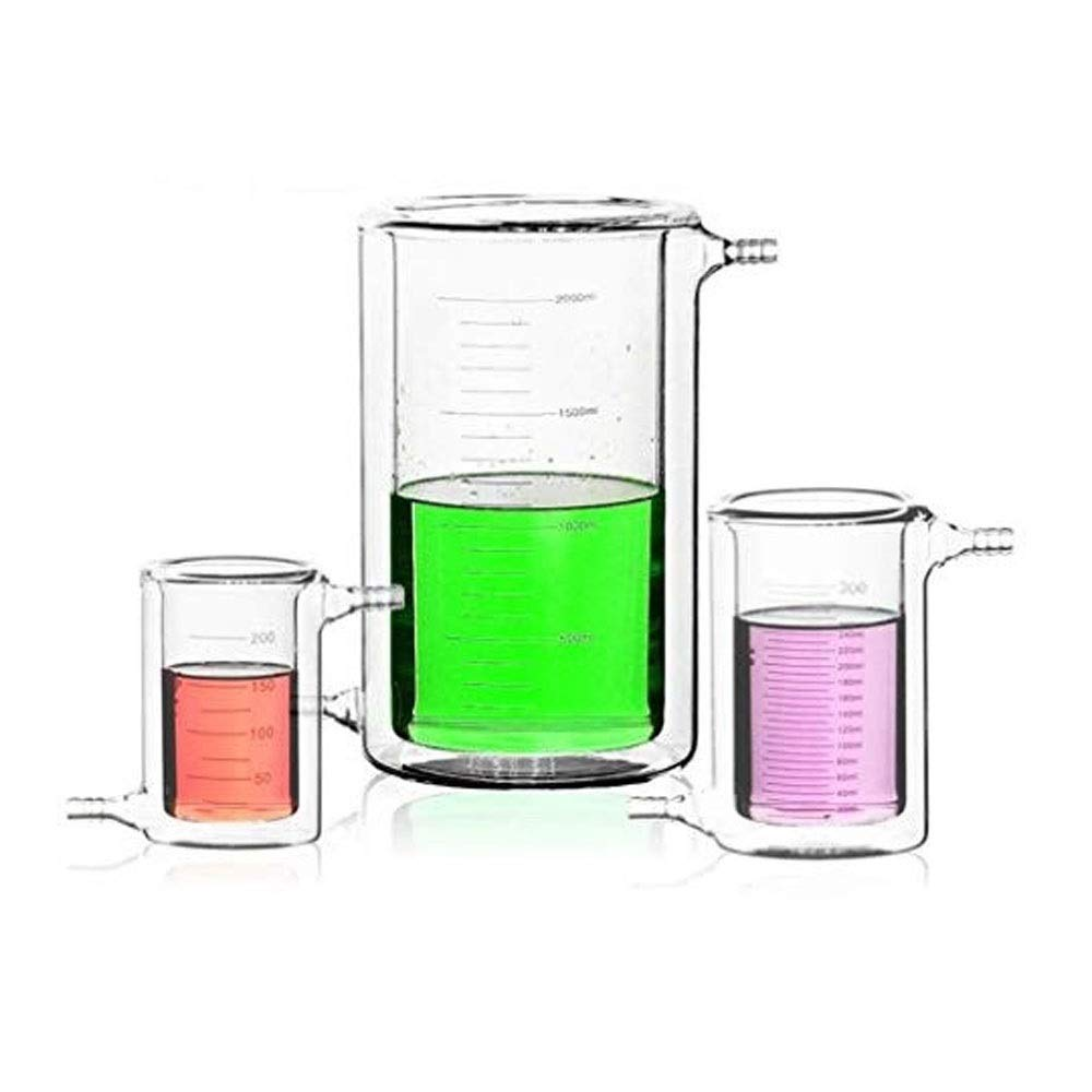 ⛵ SYYP/Laboratory Equipment 50ml Jacketed Glass Beaker Chemical Double-Layer Glass Beaker Laboratory Jacket Reaction Beaker Y0427WM (Size : 500ml)
