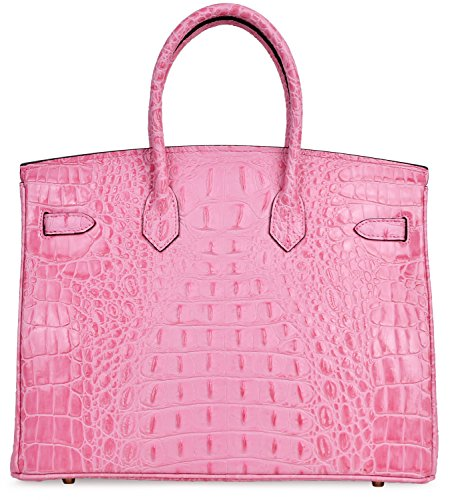 Cherish Kiss Women's Luxury Embossed Crocodile Leather Tote Office Padlock Handbags (30CM, Pink) by Cherish Kiss (Image #4)