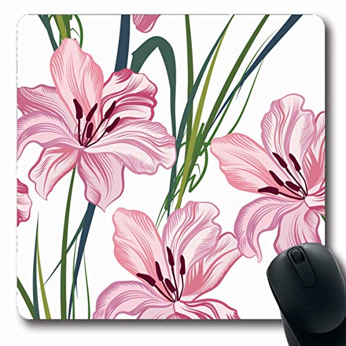 Ahawoso Mousepad for Computer Notebook Gardening Pattern Floral Flower Geometric Abstract Carnation Nature French Blossom Bouquet Design Oblong Shape 7.9 x 9.5 Inches Non-Slip Gaming Mouse Pad