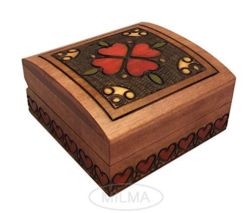 - Polish Handmade Heart Box Elegant Small Jewelry Box Linden Wood Keepsake