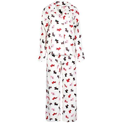 De la Mujer Ropa de Dormir Pijama, franela forro polar 100% algodón PJs Top pantalones Set CREAM DOG