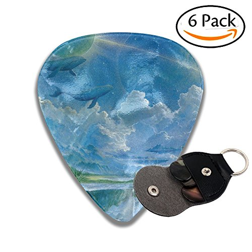 Fantasy Art-Floating Island Waterfall Whale Fashion Celluloid Guitar Picks 6 Pack For Electric Guitar, Acoustic Guitar, Mandolin, And Bass