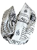 Etwoa's Lewis Carroll Alice in Wonderland Book Quotes White Infinity Scarf, Large
