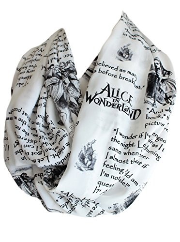 Etwoas Lewis Carroll Alice in Wonderland Book Quotes White Infinity Scarf