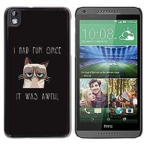 TECHCASE**Cubierta de la caja de protección la piel dura para el ** HTC DESIRE 816 ** I Had Fun Once Angry Cat