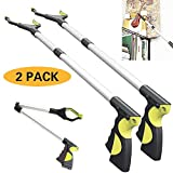 Foldable Extender Gripper Tool 32'', 2 Packs, Upgraded Version Reacher Grabber Pick up Tool Long Arm Reaching Claw (2 Pcs) (Yellow+Yellow)