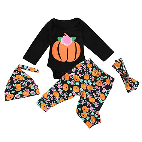 Hot Sale! 4Pcs Toddler Infant Halloween Outfits Set - vermers Baby Girls Boys Letter Pumpkins Romper(6M, Black)