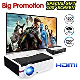 HD Projector 4200 Luminous Efficiency with 200 Max Display 50,000-Hours Led Lamp Life, Mobile Portable Home Theater Projector Support 1080p HDMI, Movie Gaming TV Projector for Phone DVD Player USB