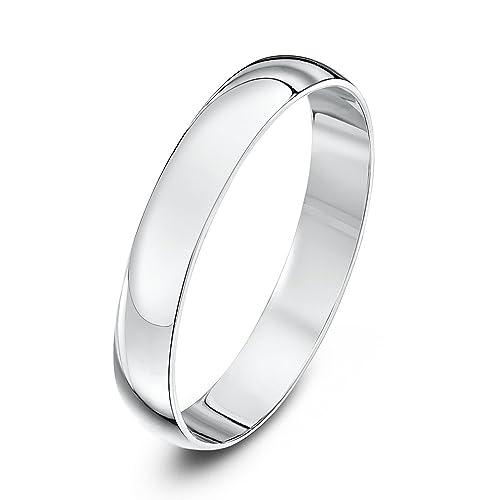 Theia Unisex Heavy - Anillos de boda unisex pulidos en platino, diseño forma de D