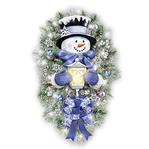 Thomas Kinkade A Warm Winter Welcome Holiday Snowman Wreath Lights Up: 2' Tall by The Bradford Exchange