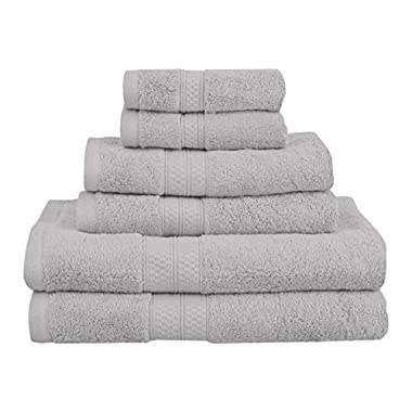 Superior 6 Piece Collection Rayon from Bamboo and Cotton Soft/Absorbent Towels Set, Chrome
