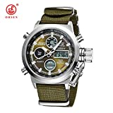 Smalody Men Sports Watches LED Digital Quartz Fashion Watch Outdoor Military Fabric Canvas Wristwatches