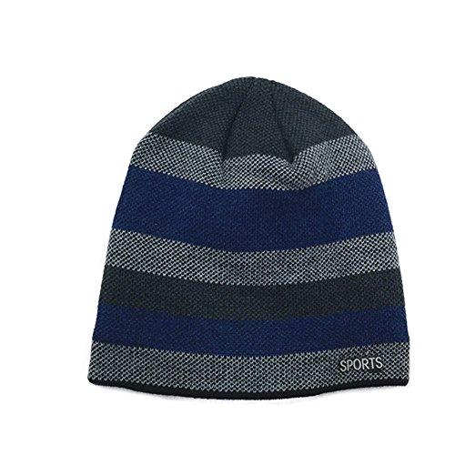 Crochet suave Gorro única aire talla originaltree Rayas caliente felpa tapa punto de azul de libre Hombres al gorro azul 1qARqzB