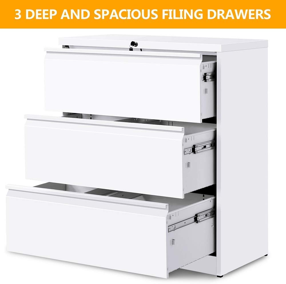 Mooseng Heavy-Duty Lockable Lateral File Cabinet with 3 Drawer-Metal Frame Structure, White by Mooseng