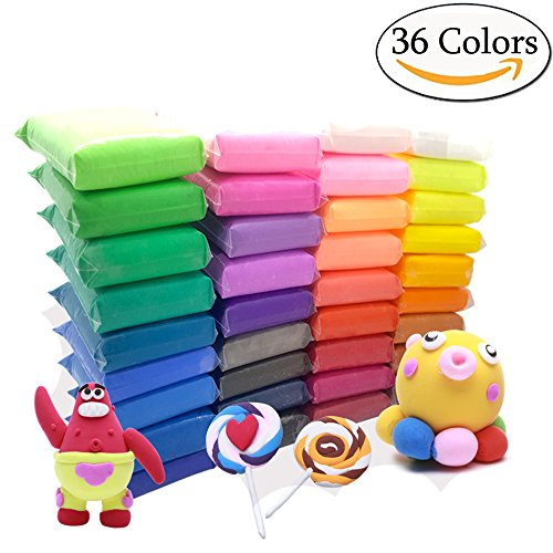 Bend Clay (Szsrcywd 36 PCS Colorful Kids Modeling Soft Clay Air Dry Clay Studio Toy 36 Bright Color No-Toxic Modeling Clay Creative DIY Crafts)